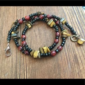Men's Tiger's Eye and Wood Beaded Necklace